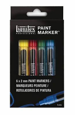 LIQUITEX MARKER - 2MM NIB - WATER-BASED ACRYLIC MARKER PEN - 6 PACK