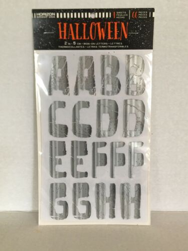 "Halloween 2"" Iron on Silver Letters Applique Patch New"