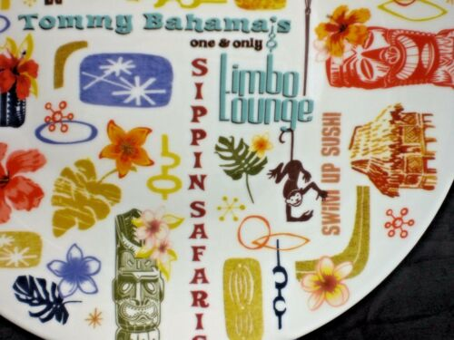 """Tommy Bahama Tropical Paradise Tiki 7/"""" Appetizer Plate NEW Torch Flamingo Orchid"""