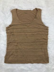 by-Chicos-Sz-3-Womens-Tan-Sleeveless-Tiered-Front-Tank-Top-Casual-Work-Wear