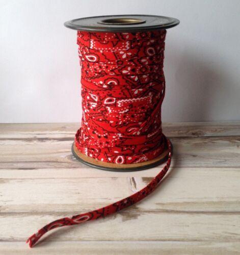 "1//4/"" Double Fold Bias Tape *Red bandana print* 1 yard"