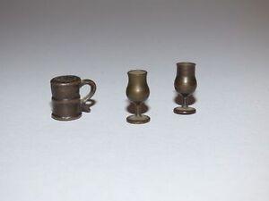 2 Les Verres à Vin Verre De Vin Laiton Tourné Chope Biere Bronze Moulé Poupée-afficher Le Titre D'origine Large SéLection;