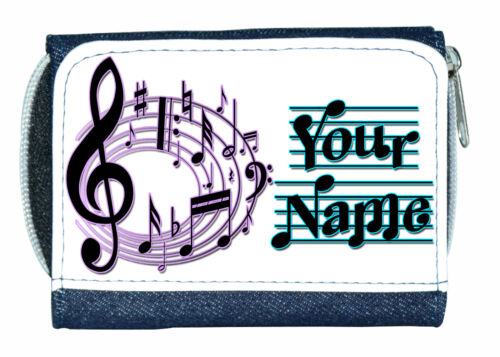 MINI WALLET *GREAT NAMED GIFT//PRESENT* MUSICAL NOTES PERSONALISED DENIM PURSE
