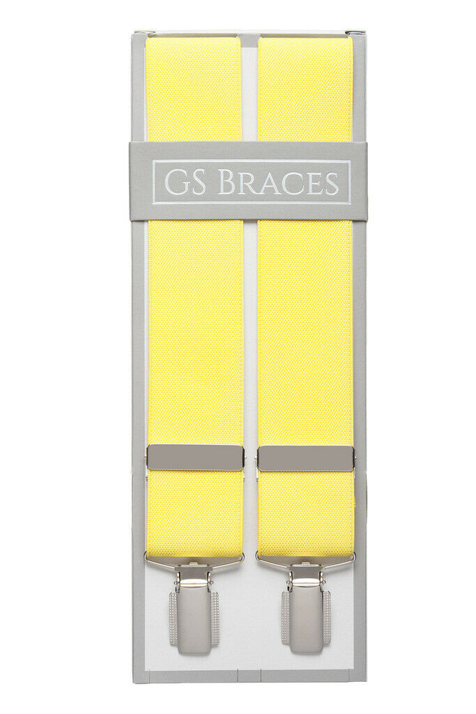 Yellow Suit Trouser Braces Suspenders Mens Strong Clips XL XXL Extra Long
