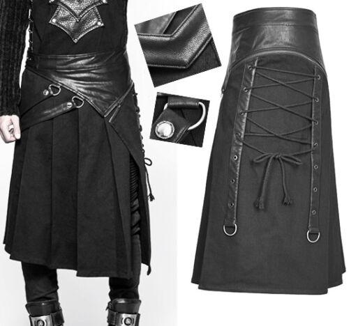 Gothic Punk Krieger Schlitz gefaltet Kilt Rock Schnürung Riemen PunkRave Herren