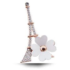 Luxus XL Brosche Eiffelturm Vintage Braut Strass Gold/Klar 30 mm X 65 mm Paris