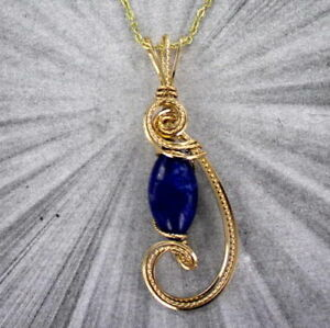 LAPIS-LAZULI-GEMSTONE-PENDANT-NECKLACE-14KT-ROLLED-GOLD-WIRE-WRAPPED