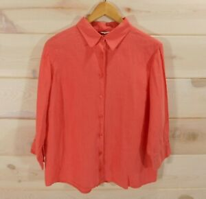 LL-Bean-Women-039-s-Sz-L-Reg-Coral-Linen-Shirt-3-4-Sleeves-Button-Front