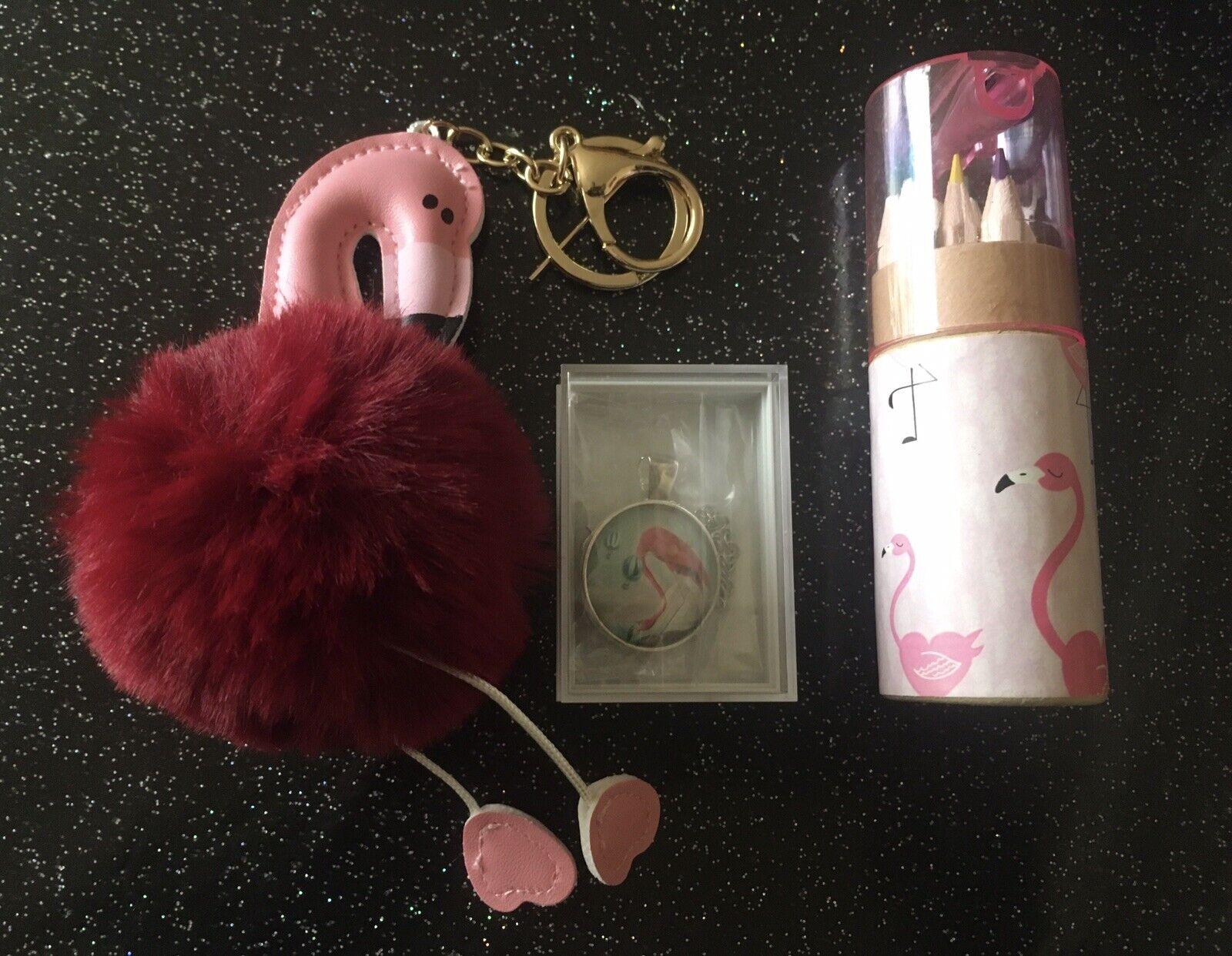Retro Flamingo Pencil Set +Boxed Pendant Necklace +Fluffy Keyring 3pc Gift Set