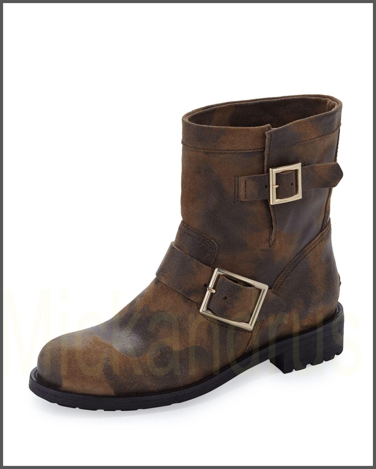 995 Nuevo en Caja JIMMY CHOO cuero zapatos zapatos zapatos botas motocicleta Animal Print Antelope 8,5  mejor servicio