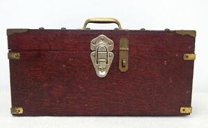Antique-Oak-Wood-Box-Primitive-Tool-Box-Caddy-Brass-Trim