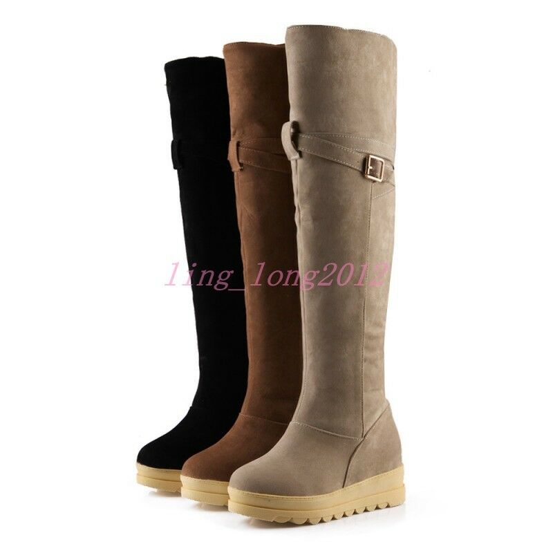 Women shoes Over The Knee Boots Flat Heel Slim Leg Cute Sweety shoes Plus Size