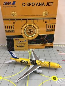 Rare 1:400 JC Wings ANA B777-200ER JA743A C-3PO Aircraft Model+Free Tractor