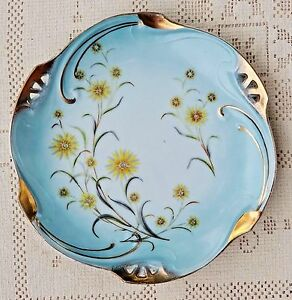 VINTAGE-1950-039-s-TRIMONT-WARE-JAPAN-HAND-PAINTED-DECORATIVE-PLATE-W-GOLD-TRIM
