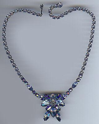 Begeistert Regentschaft Vintage Glänzend Hell Blau Und Auroa Borealis Straß-halskette HöChste Bequemlichkeit