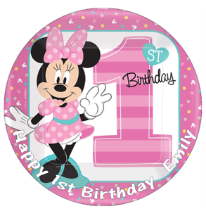 Marvelous Minnie Mouse 1St Birthday 7 5 Cake Topper Edible Wafer Paper Funny Birthday Cards Online Kookostrdamsfinfo