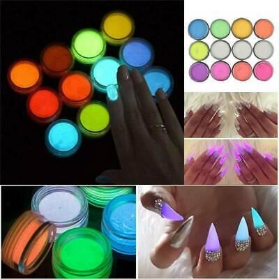 10g Fluorescent Nail Art Dust Glow in the Dark Powder Glow Pigment DIY 12 Colors