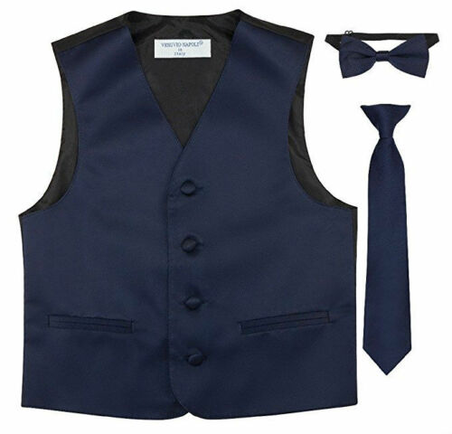 Bow Tie Tie 16 Colors Boys Formal Wear Vest Set Special Occasion Satin Vest