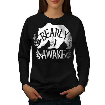 Aktiv Wellcoda Bear Bearly Awake Womens Sweatshirt, Grizzly Casual Pullover Jumper