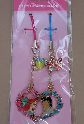 Ariel Prince Eric Pair Strap Charm Set Tokyo Disney The Little Mermaid Japan New