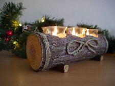 NEW Rustic Log Candle Holder Table Centre Piece Tea Light Festive Christmas Xmas