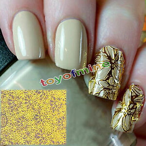 New-1-Sheet-Blooming-Flower-Embossed-3D-Nail-Stickers-Tips-Decoration