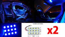 2x T10 & Festoon Universal 12 SMD Hyper Blue LED Panel Interior Dome Map Light