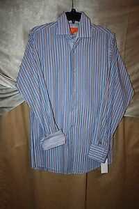 Tallia-Casual-Men-039-s-Dress-Shirt-Size-S-Stripped-Contrast-Cuffs-NEW-Button-Front