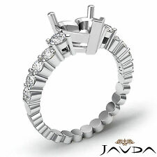 Diamond Engagement Heart Semi Mount Shared Prong Set Ring 14k White Gold 0.70Ct