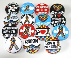 Autism-Awareness-BADGES-Buttons-Pins-Lot-Set-of-15-NEW