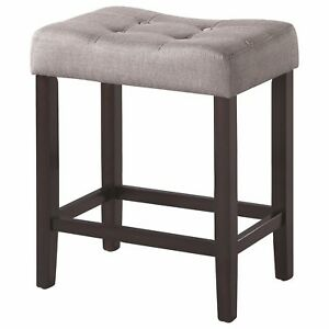 Phenomenal Details About Espresso Backless Counter Stool With Grey Fabric Seat By Coaster Set Of 2 Beatyapartments Chair Design Images Beatyapartmentscom