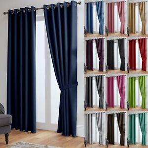 Blackout Curtains Thermal Ready Made Eyelet Ring- Energy Saving + Free Tie Backs