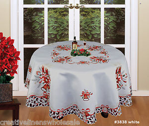 Christmas-Embroidered-Poinsettia-Candle-Tablecloth-amp-Napkins-WHITE-ROUND-3838W