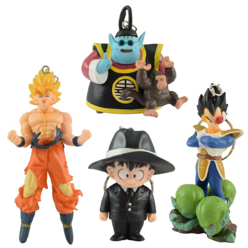 4pcs Keychain Dragon Ball Z Figures Gokou Vegeta Saibaman Kai King Kaioh Bubbles