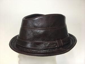 Jill Corbett Trilby hat + band choc brown leather Handmade S M L XL ... 266d7acc5d2