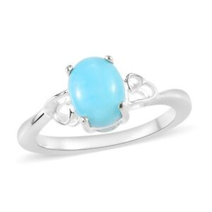 925-Sterling-Silver-Oval-Larimar-Unique-Stylish-Statement-Ring-Jewelry-Gift