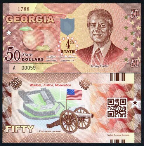 $50 UNC Jimmy Carter P-N//L Georgia ND 2014 USA States Polymer