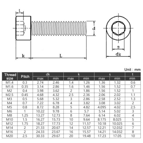 Acier Inoxydable Vis à tête creuse m3 m4 m5 m6 m8 Tête Cylindrique Vis DIN 912