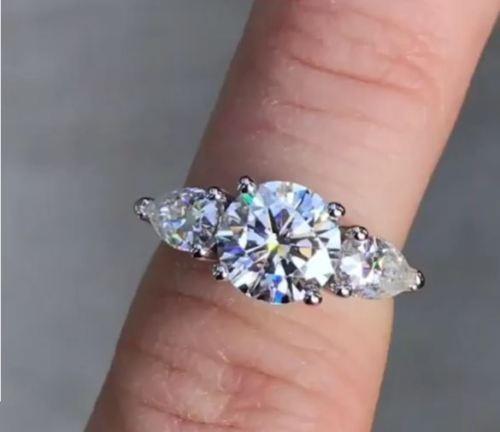 3.00Ct Round & Pear Cut Diamond 3 Stone Engagement Wedding 14K White gold Ring