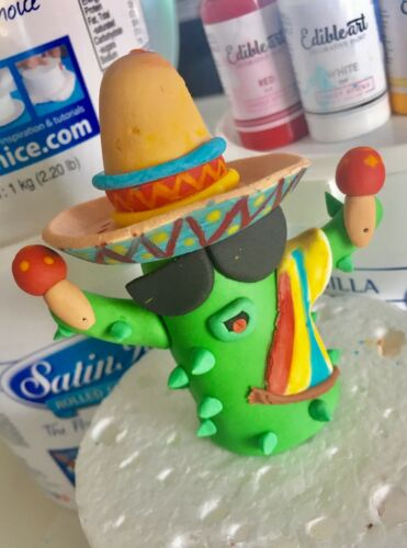 Cactus Mexican Fondant Cake Topper Approx 8 cm height