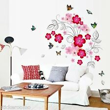 RED PINK FLOWER SET MURAL STICKERS WALL ART DIY DECOR HOME ROOM DECORATION