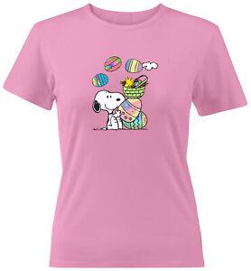Peanuts-Snoopy-Woodstock-Easter-Eggs-Spring-Cute-Shirt-Juniors-Women-Tee-T-Shirt