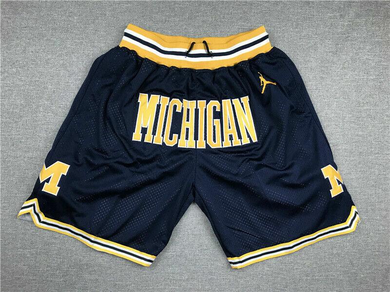 2021  NEU  Retro Michigan Wolverines Basketball Shorts Stitched Navy Blue  DE