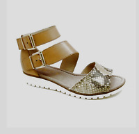$189 Gabor Sporty S Buckle Natural Snake Back Zip Sandals 44572 Womens 7 M