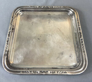 """Reed & Barton Rector's NYC Restaurant Hotel Ware Silver Soldered 6"""" Square Tray"""