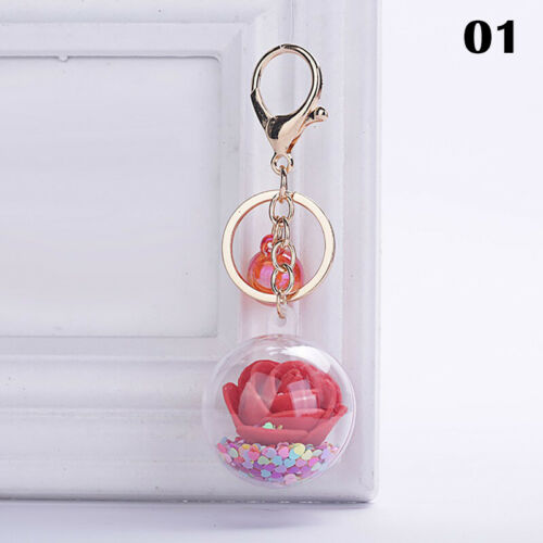 Roses Dried Flower Sequin In Dome Glass Ball Ornament Keychain Keyring Pendant