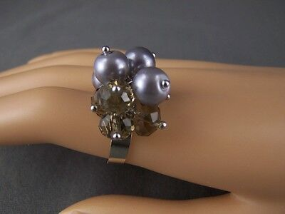 Dangle bead ring Adjustable big ringUniversal size ring Very big stretchable cocktail ring 1990 jewelry