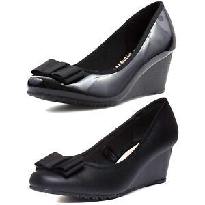 womens black wedge shoes