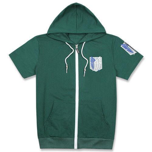 Attack on Titan Survey Corps Hoodie Short Sleeve Zip-Up SweatShirt Hooded Coat