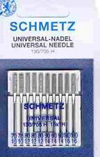 10 Maschinen-Nadeln Schmetz 130-705H sort. Stärke 70-100 Universal Flachkolben